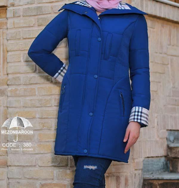 مانتو دانشجویی پاییه زمستانه آبی کاربنی