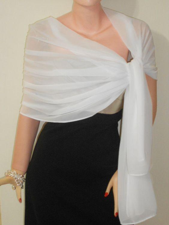 شال و روسری مجلسی حریر سفید ساده
