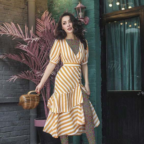 مدل پیراهن اسپرت راه راه سفید زرد
