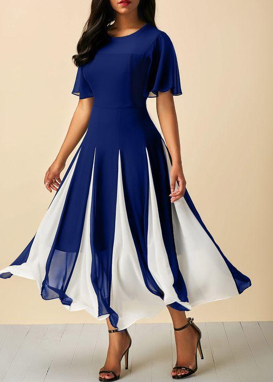 مدل پیراهن زنانه کژال حریر آبی سفید