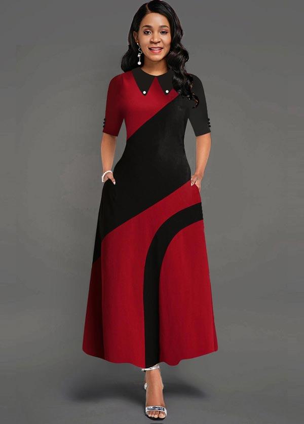 پیراهن زنانه قرمز مشکی