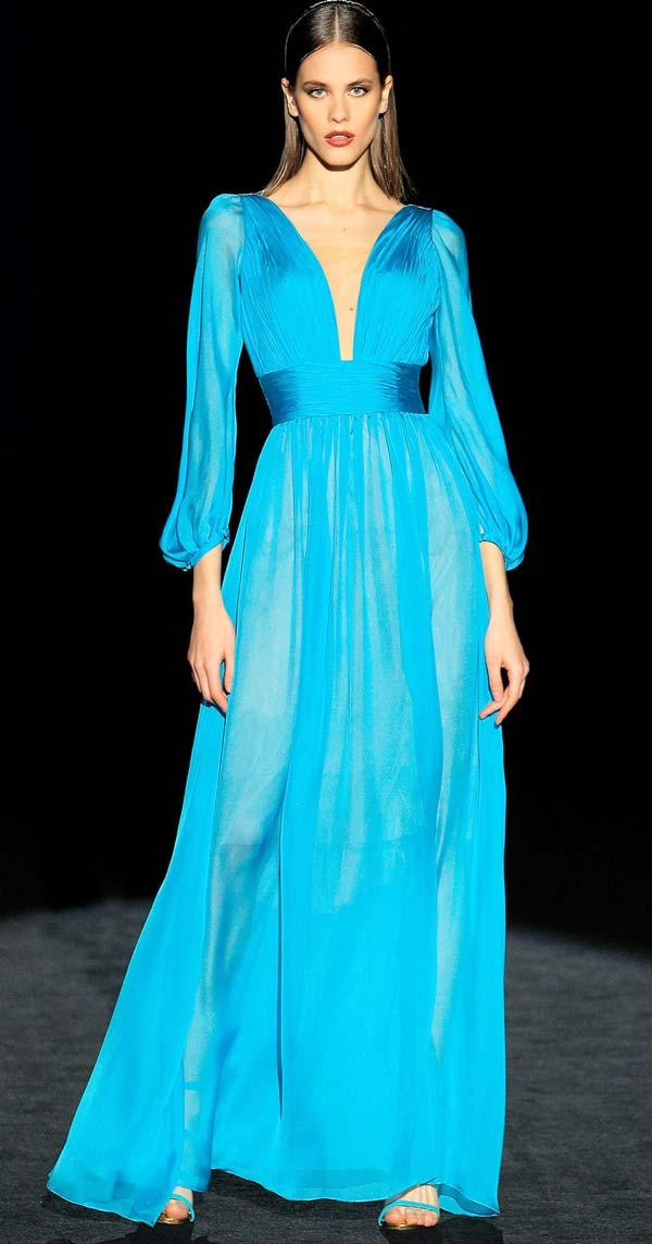 لباس مجلسی حریر آبی آسمانی