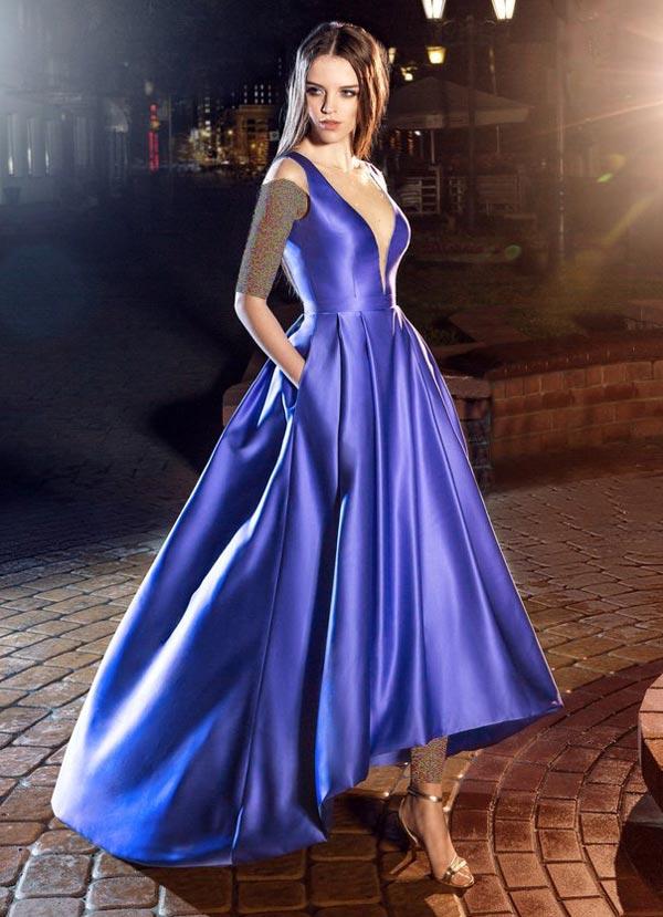 لباس مجلسی ساتن براق آبی