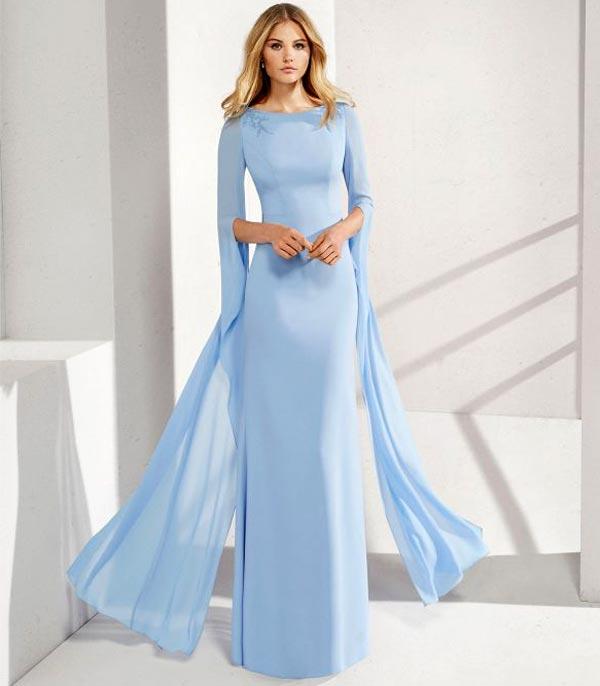 مدل لباس مجلسی آبی روشن آستین افتاده
