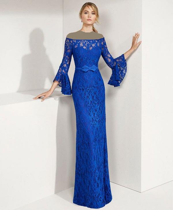 لباس مجلسی گیپور آبی کاربنی