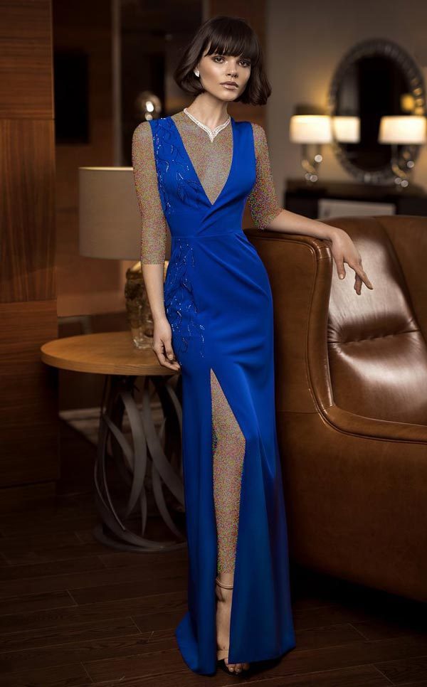 لباس مجلسی آبی کاربنی شیک