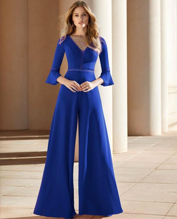 لباس مجلسی آبی کاربنی با شلوار