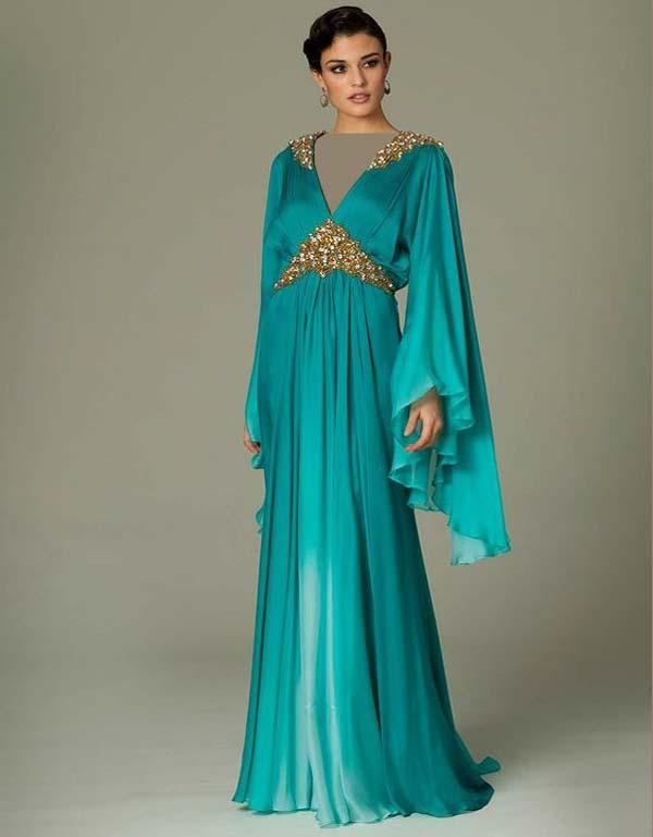 لباس مجلسی آبی آستین بلند