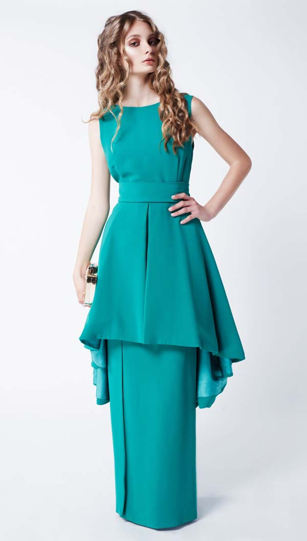 مدل لباس مجلسی آبی دو دامنه