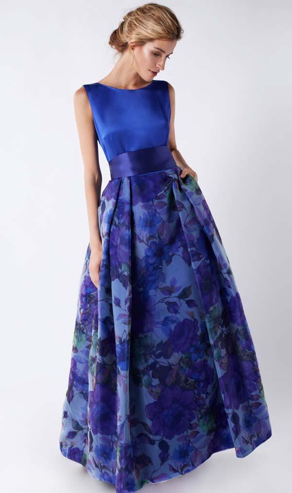 لباس مجلسی آبی دامن گلدار