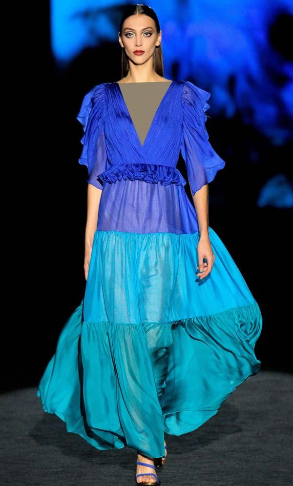 لباس مجلسی حریر آبی دو رنگ