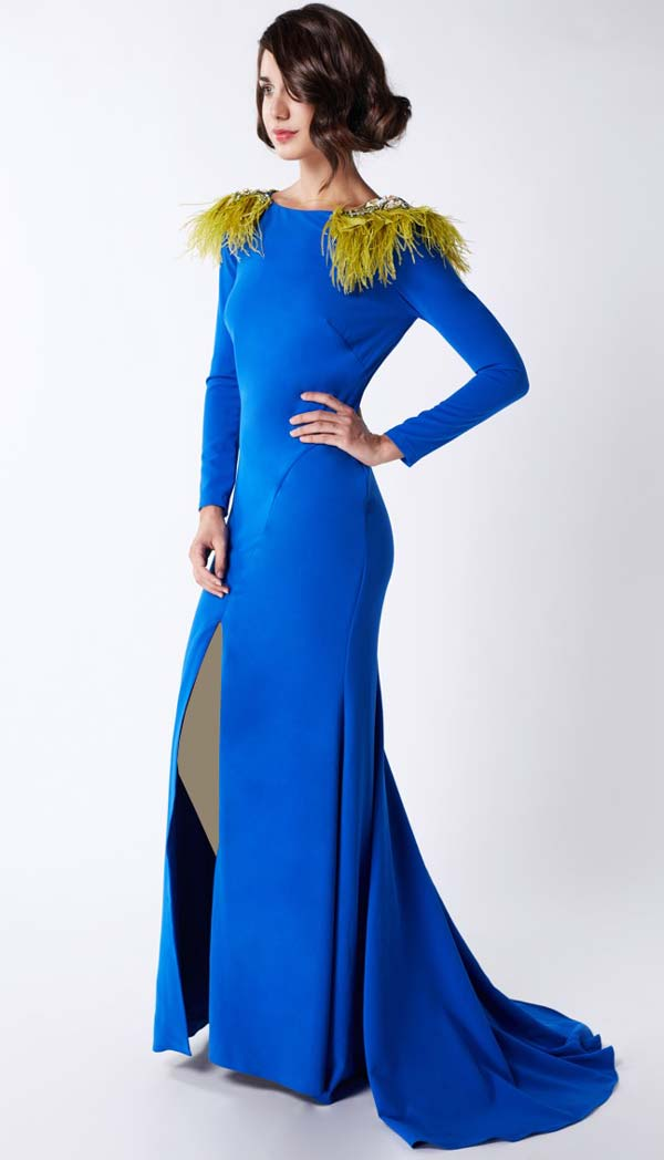 لباس مجلسی آبی کاربنی بلندا
