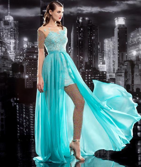 لباس مجلسی حریر آبی فیروزه ای