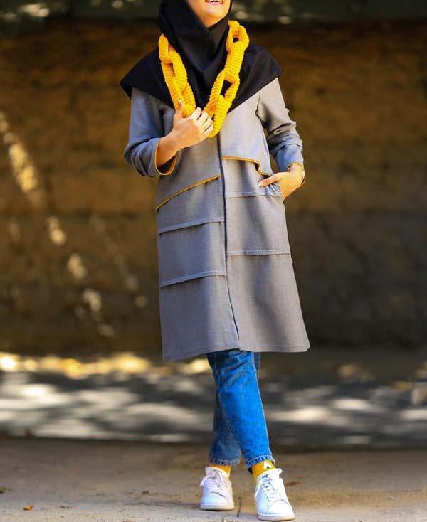 مدل مانتو دانشجویی طوسی