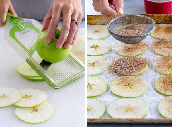 برش دادن خشک کردن سیب