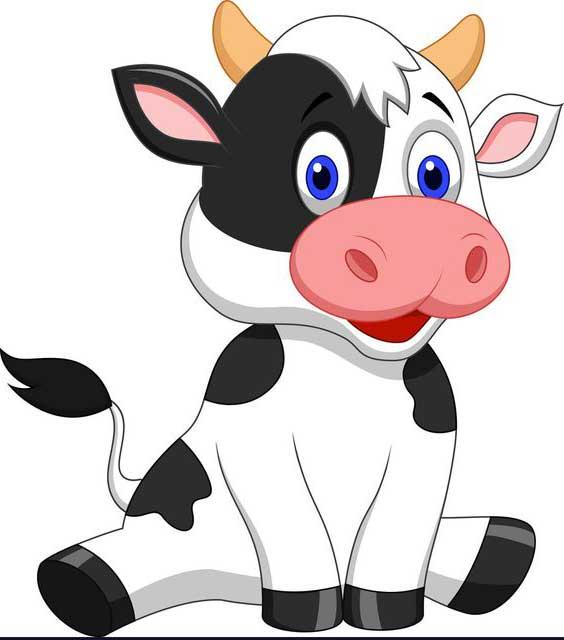 طرح فانتزی گاو خندان سفید مشکی