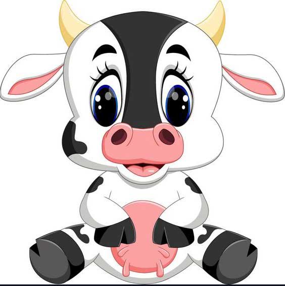 نقاشی گوساله سفید مشکی