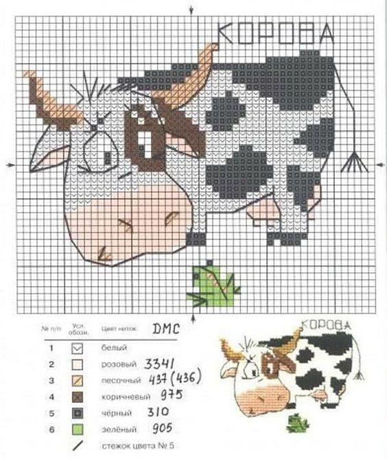 طرح شماره دوزی گاو سفید سیاه