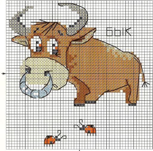 طرح شماره دوزی گاو نر شاخ دار