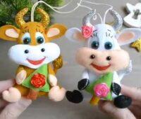 آموزش دوخت عروسک گاو نمدی همراه با الگو و فیلم