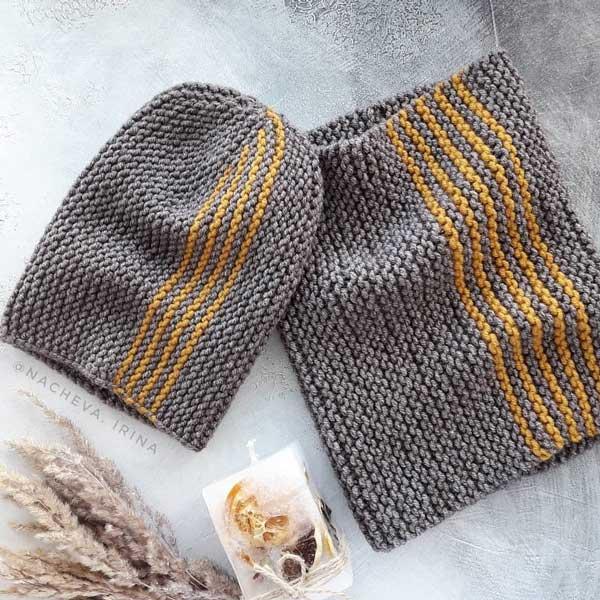 بافت ست کلاه و شال مردانه زنانه