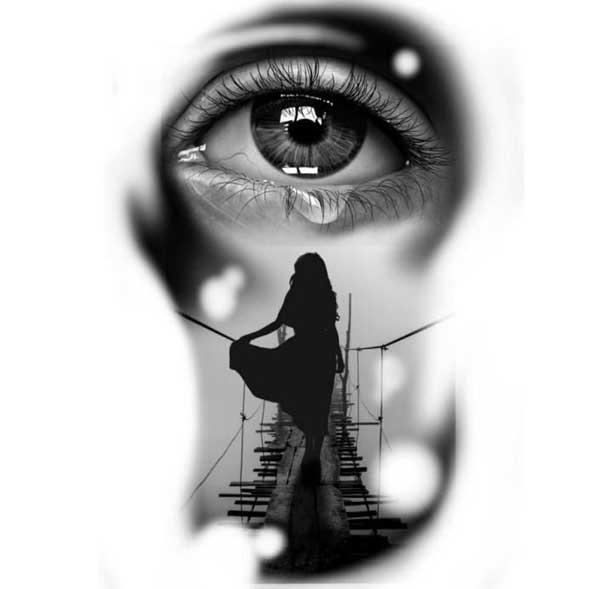عکس پروفایل سیاه سفید چشم گریان
