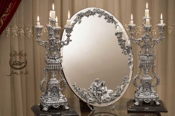 آینه شمعدان نقره