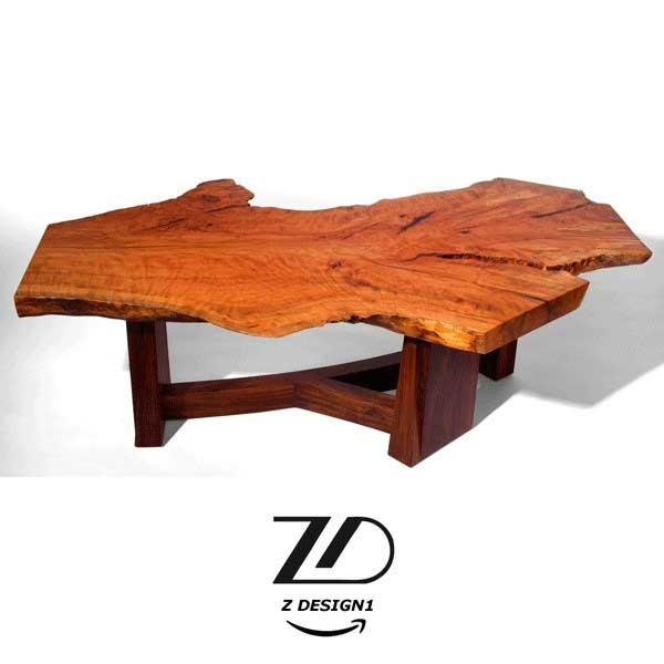 میز جلو مبلی از جنس چوب طبیعی
