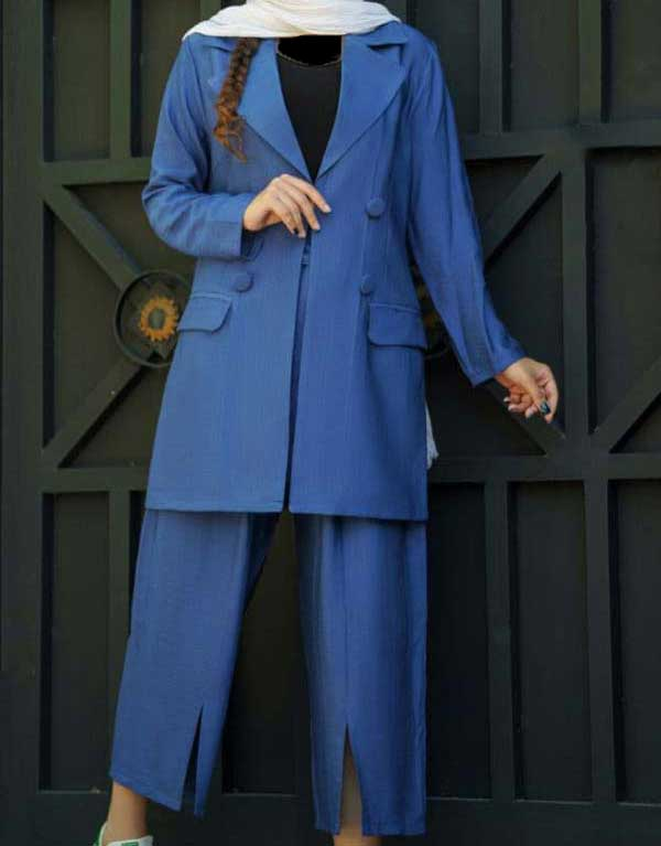 مانتو شلوار عید آبی مدل کتی
