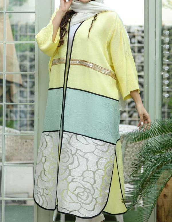 مانتو عید بلند کیمونو زرد سبز