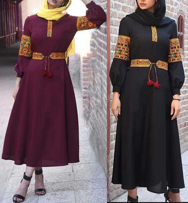 مانتو عید مدل سنتی مشکی زرشکی