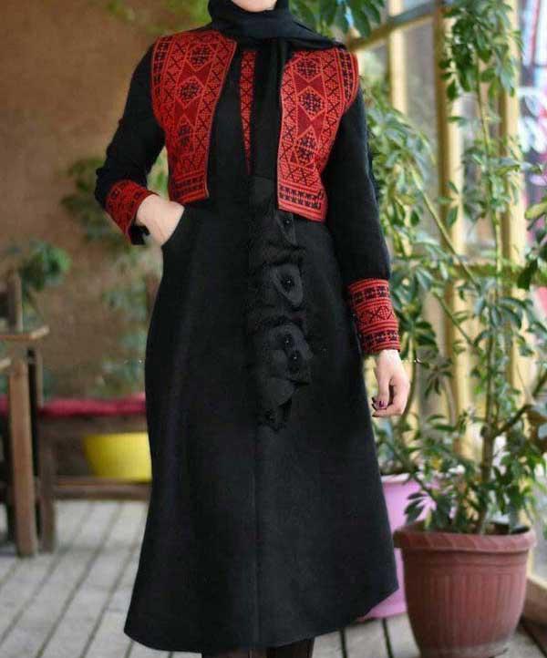 مدل مانتو عید سنتی مشکی قرمز
