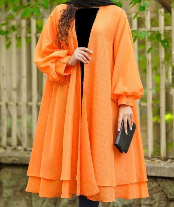 مانتو عید کلوش نارنجی