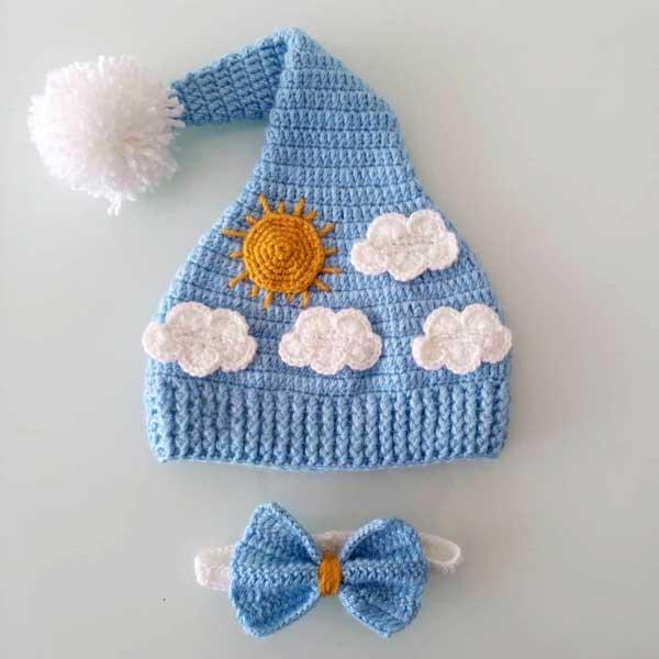 کلاه نوزادی قلاب بافی دنباله دار