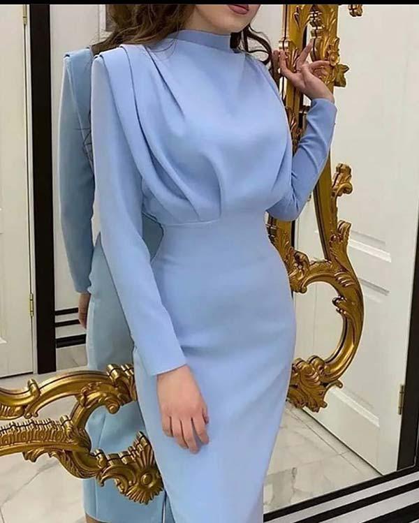 لباس رنگ آبی مجلسی