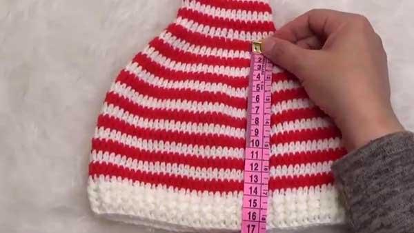 کلاه بافتنی راه راه قرمز سفید