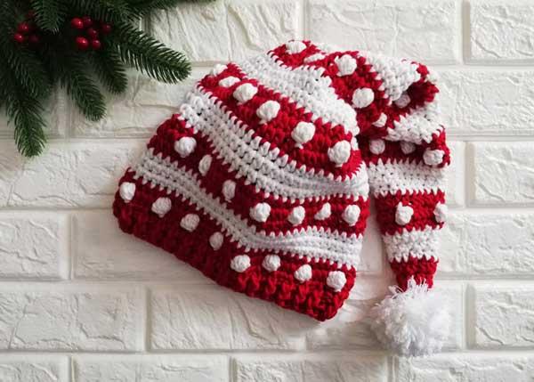 کلاه شیپوری بچگانه راه راه قرمز سفید